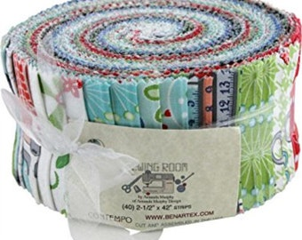 "Benartex - Sewing Room Pinwheel/Jelly Roll by Amanda Murphy - 40, 2.5"" x 42"" Precut Fabric Strips"