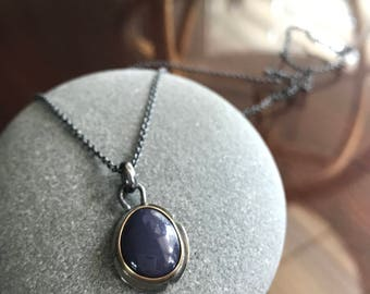 "Oxidized silver freeform Leland Blue set in 14K gold bezel setting on 16"" oxidized sterling silver cable chain"
