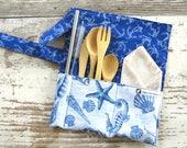 Zero waste kit - Zero waste cutlery - utensil wrap - travel utensil kit - eco friendly - save the ocean - reusable straws - make life green