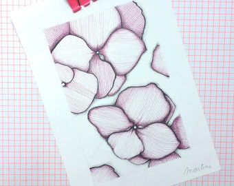 Flowers Original pencil drawing affordable wall art decoration nature illustration home one of a kind