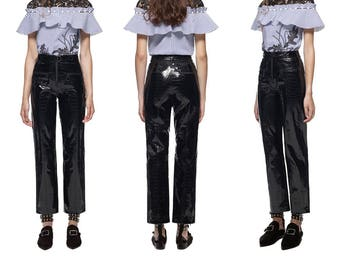 Wide Leg Leather Pants - Made to Order, More Colors - PVC Vinyl Latex - Any size