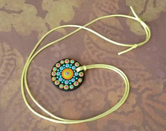 FREE SHIPPING / Hand Painted Necklace #15 / Mandala / Dot Jewelry / Mandala Art / Dot Painted Pendant / Painted Wooden Necklace