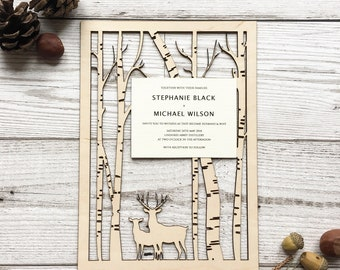 Scottish wood wedding invitations - stag wedding invites - laser cut wedding invites