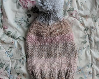 Slouch Beanie with Pompom - Variegated