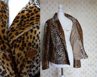 90s Leopard Coat, short leopard coat, animal print coat, 90s animal print, 90s short coat, 90s coat, soft short coat, fluffy coat XS S