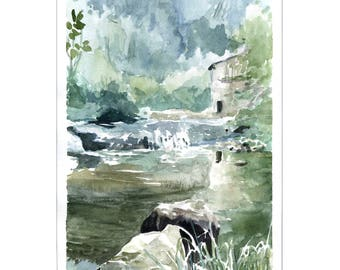 Watercolor landscape waterfall painting mill river landscape painting, original watercolor landscape decor Water Mill Creek waterfront