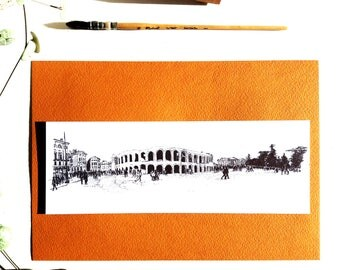 Drawing ink Verona, map postcard Italy, arena, black and white Illustration cityscape, city Italy Architecture sketch