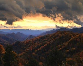"Sunset photo, Great Smoky Mountains, Landscape Photography, Nature Print, ""Sunset Archway"", Fine Art Photography, High Dynamic Range Photo"