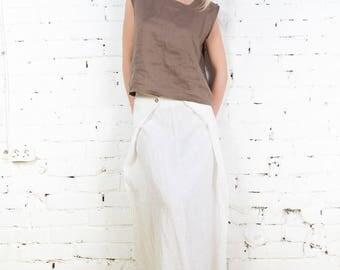 High waist skirt, a line linen skirt, maxi linen skirt, summer linen skirt, linen skirt, plussize linen skirt, oversize linen skirt /LS0004