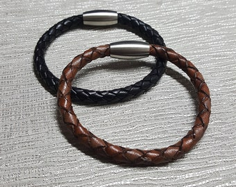 Braided Leather Essential Oil Diffuser Bracelet | Brown | Black | Aromatherapy | Gift | Magnatic Catch | Hand Made | Valentines
