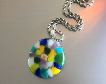 Necklace of glass-glass pendant-stained glass-pendant-jewelry-Gift woman-gift women-necklace-hotpot-schmuck Frau-glasfusion-chain-Spectrum glass