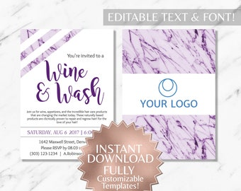 Purple Marble and White Hair Salon and Monat Wine and Wash Invitation INSTANT Template