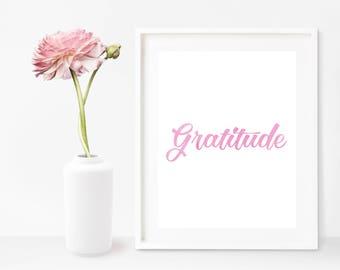Gratitude Wall Art, Gratitude Art, Gratitude Printable, Gratitude Decor, Wall Art, Digital Print, Bedroom Printable, Bedroom Wall Art