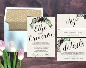 Charming Printable Winter Wedding Invitation // Wedding Invitations // Pinecone Wedding  Invitation //Digital