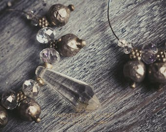 Raidrops-Tribal Earrings with Indian pendants and Antique Crystals
