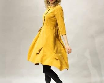 Yellow corduroy dress, Playful dress, Original design, Three-quarter sleeves, Boat neck shape, Button front fastening, Dress with pockets