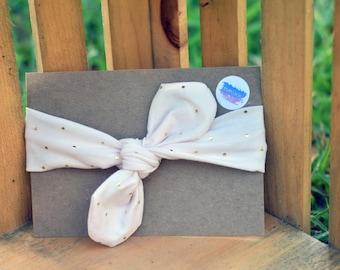 Cream & Gold Polka-Dot Knot Tie Headband | Baby/Toddler Headband | Adult Headband | Mommy/Me Headbands | Knot Tie Headbands