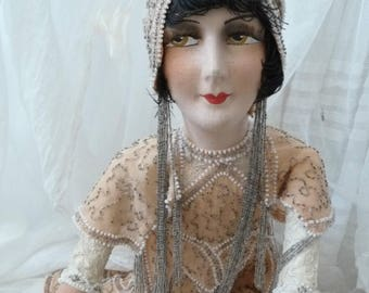 Antique French Boudoir Doll 1920's Flapper Louise Brooks