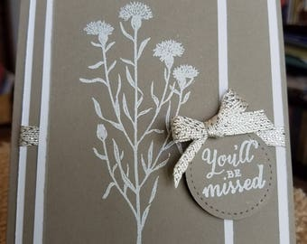 You'll Be Missed Embossed Card and Envelope