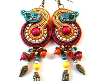 "Ethnic earrings soutache ""big bang color"""