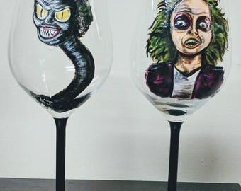 BEETLEJUICE SNAKEHEAD PAIR (2) wine glasses