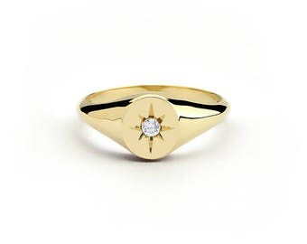 Diamond Signet Ring in 14k Gold / Star Setting Diamond Signet Ring / Gold Signet Ring / Pinky Signet Ring / Mothers Day Gift