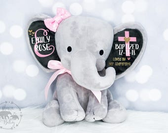Baby Girls Baptism Gift,  Keepsake Elephant, Christening Gift, Gift From Godparents, Blessed Gift, Confirmation Gift, Personalized Elephant