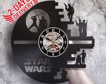 Star Wars art, wall clock, Darth Vader art, Luke Skywalker, Boba Fett art, Han Solo, Princess Leia, c3po, R2D2, Master Yoda, Death Star