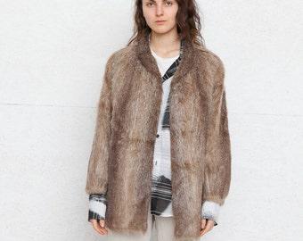 Vintage Brown Faux Fur Jacket Coat