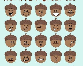 Acorn Clip Art, Acorn Emoticons, Acorn Faces, Thanksgiving Clipart, Thanksgiving Clipart, Emoji Clipart, Autumn Clipart, Emoji Download