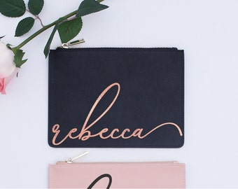 Sweet 16 Gift Saffiano Leather Pouch Blush Pink Black Best Friend Personalized Birthday Gift Gold Foil Rose Gold Script Name 21st Birthday