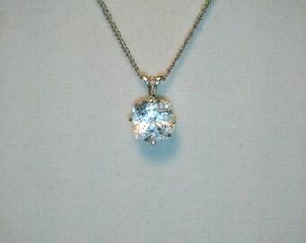 White Topaz Pendant, Natural Ultra White Topaz Necklace, Topaz Cushion Cut Gemstone