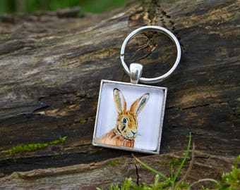 Hare keyring, wildlife keychain, nature lover gift, wildlife lover gift, hare painting, wildlife art, watercolour keyring, countryside gift