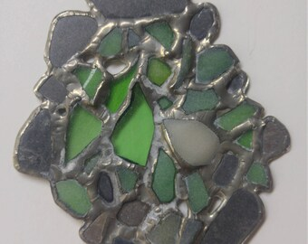 Sea glass, slate, wall hanging