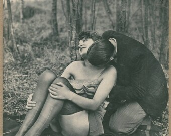 Liaison In the Woods | Couple Necking | Erotic Fetish Scenario | 1930's | Clocked Stockings | Upskirt | Antique Risqué |