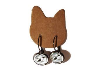 Gunmetal silver bird and cage earrings clip earrings