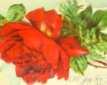 Pretty Vintage Postcard (Red Rose)
