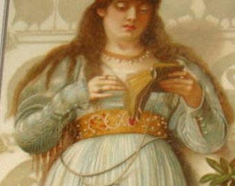 Victorian Scrap (Pretty Lady Reading a Book)