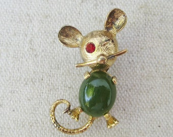 Mouse AC Sterling Brooch, Vintage Brooch, Jelly Belly, Red Rhinestone, Faux Jade, Green Cabochon, Figural Animal Pin, Gold Tone, Small, Gift