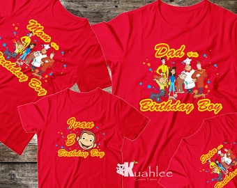 Curious George Boy Family Birthday Party Shirt, Personalized shirts, Custom Family Birthday Set Red