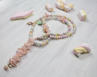 Pastel candy - shell necklace in pastel shades, wood, acrylic, glass, shell chips, fish pendant, pendant summer, multi colored, pastel