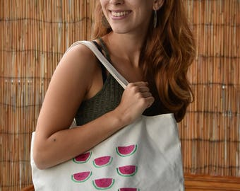 Tote bag 100% organic cotton hand-painted