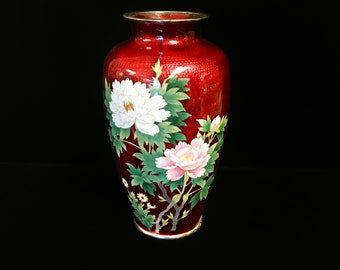 Silver Enamel Asian Vase