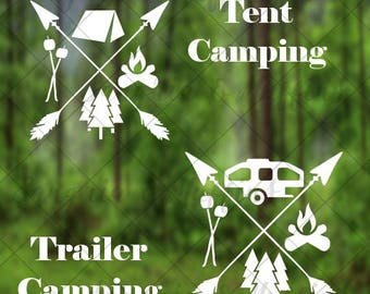 Camping Love with crossing arrows - car decal, window decal, laptop decal, tablet decal - Camping Decal Hiking decal, Outdoors decal, Gift
