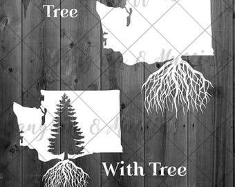 Washington State Evergreen tree roots - car, window, laptop, tablet decal - pnw love, pnw pride, pnw decal, Washington State decal, WA Love