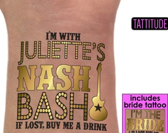 Nashville bachelorette party Custom Tattoos | gold tattoos, nash bash, nashelorette party, last party ya'll, country bride, nashville girls