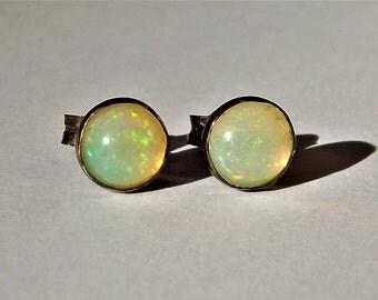 Fire Opal Earrings Opal Earrings - Opal Stud Earrings- Sterling Opal - October Birthstone - Sterling Fire Opal - Welo Opal Earrings