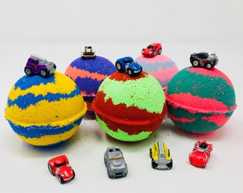 5 7.0 oz Kids Car Toys Inspired Kids Bath Bombs Party Favor Set with Toy Surprise Inside; Homemade with Texas Size Love