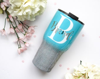 Turquoise and Silver Holographic Ombre Glitter Tumbler - Glitter Tumbler - Silver Tumbler - Ombre Tumbler - Yeti Rambler - Yeti