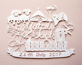 Personalised Commission Handcut Papercut, Anniversary, Wedding, Birthday Gift, Present, Customised, Hobbies, Paper cut, Hand made